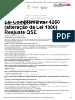 Lei Complementar 1250 (Alteração Da Lei 1080) Reajuste QSE - AFUSE - Sindicato Dos Funcionários e Serv Da Educ