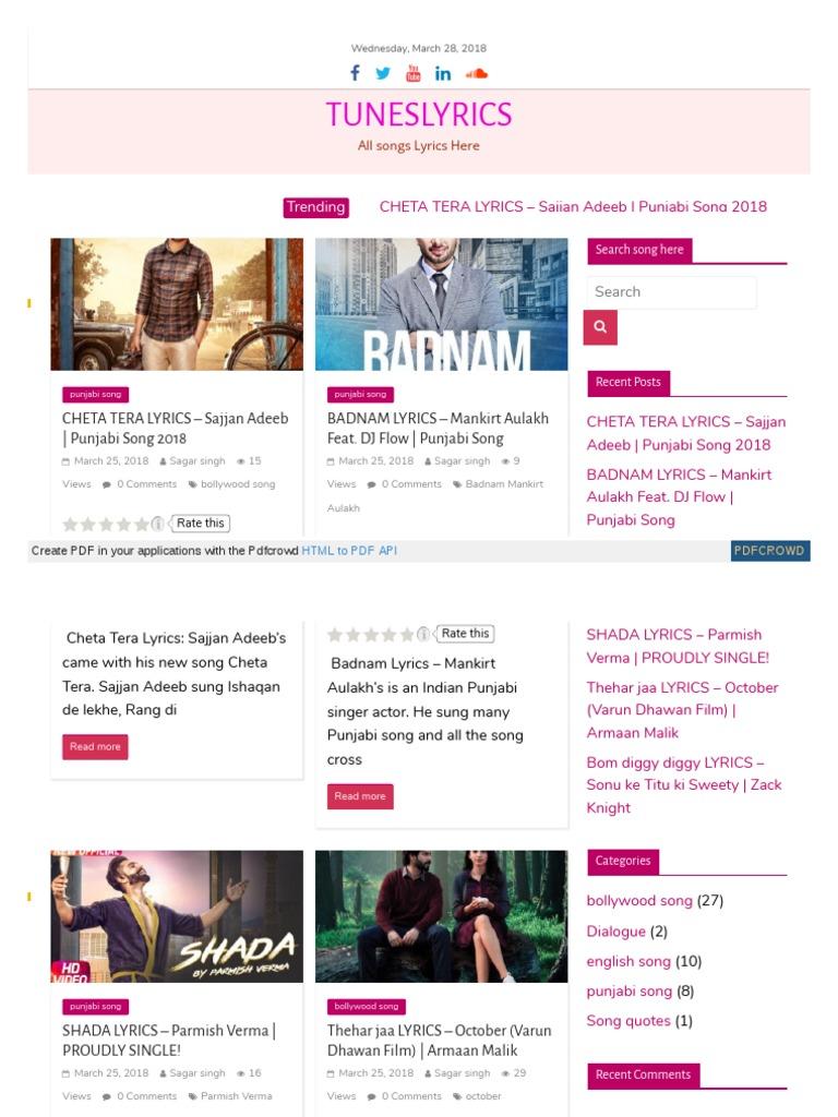 Tuneslyrics Trending Bollywood Cinema Of India