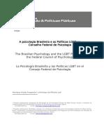 A Psicologia Brasileira e as Políticas LGBT No Conselho Federal de Psicologia