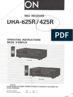 Denon 625R / 425R Receiver User Guide Owners Manual