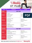 Beginner's Weekly Workout Plan Calendar