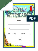 Perfect Attendance Award Certificate Fancy