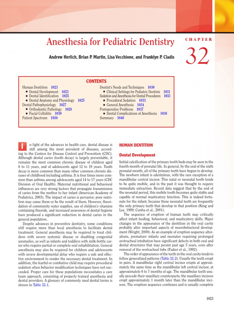 Anesthesia for Paediatric Dentistry | Orthodontics | Tooth