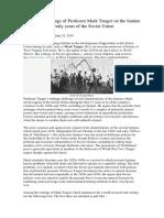 Arquivo de Escritos Do Professor Mark Tauger Sobre Os Flagelos Da Fome Nos Primeiros Anos Da União Soviética
