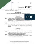 Estatuto Del Docente Municipal Ordenanza 12092
