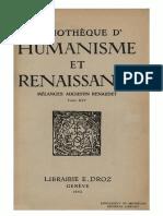 BIBLIOTHEQUE D'HUMANISME ET RENAISSANCE TOME XIV NO. 1 - 1952 - MÉLANGES AUGUSTIN RENAUDET.pdf
