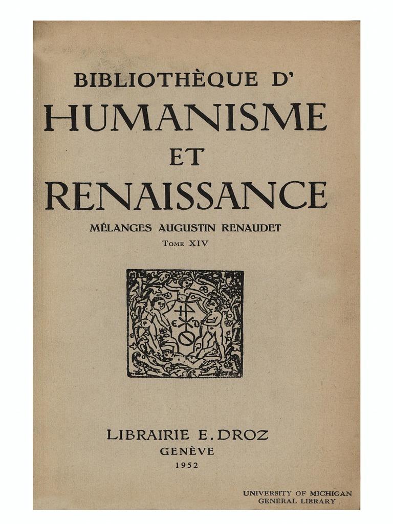 BIBLIOTHEQUE D HUMANISME ET RENAISSANCE TOME XIV NO. 1 - 1952 - MÉLANGES  AUGUSTIN RENAUDET.pdf 68229420e746