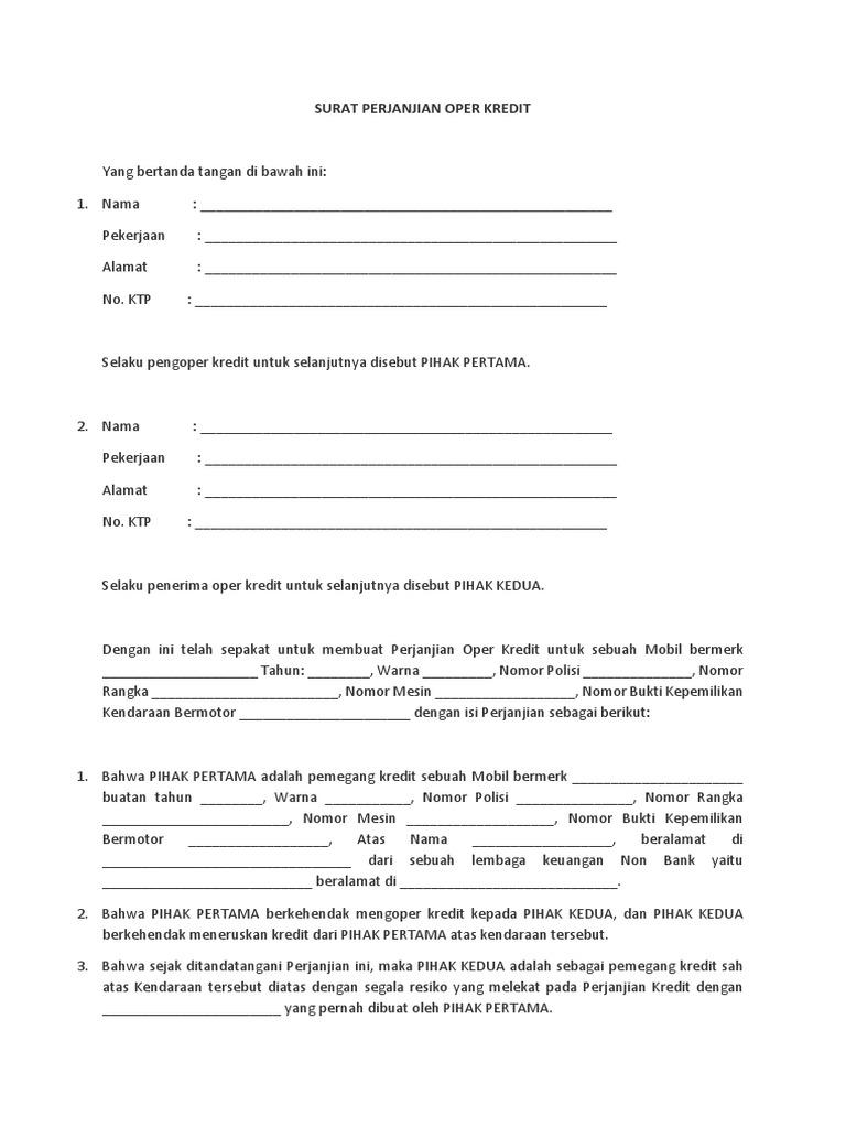 Contoh Surat Over Kredit Mobil Gudang Surat