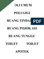 Nama Ruangan Klinik