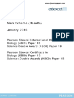 Edexcel International GCSE January 2016 Biology Paper 1 (4SC0-1B) - Markscheme