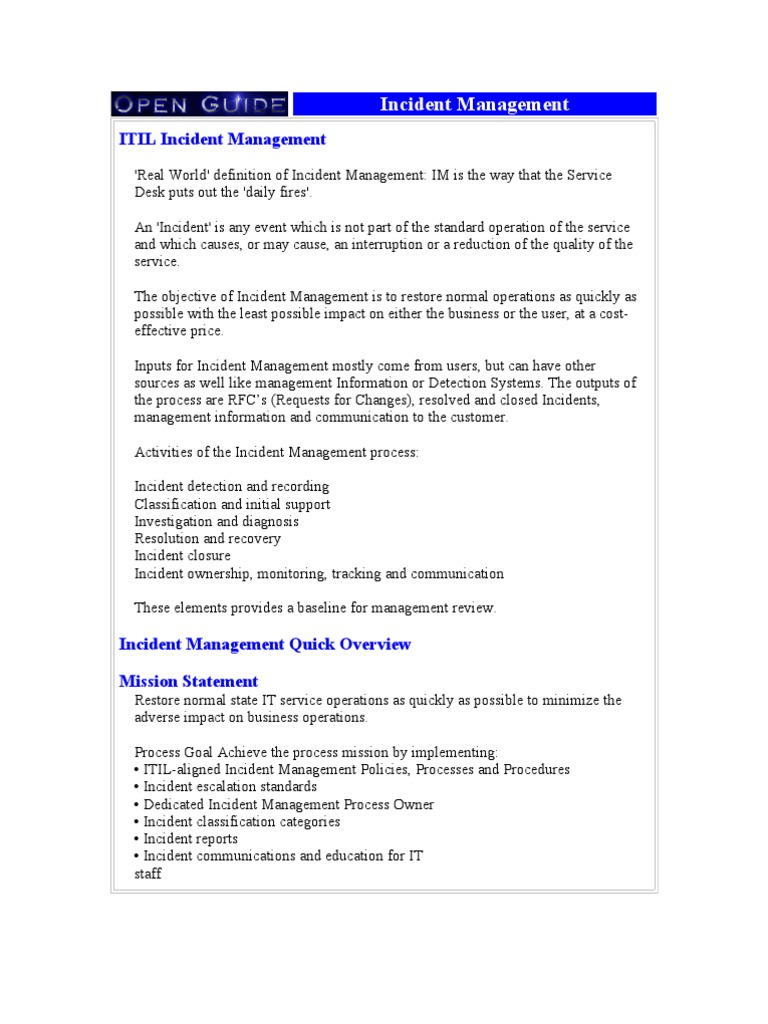 Fantastic Itil Incident Management Template Photos - Example Resume ...