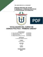 Evaluación Del Curso de Ciencia Política-Control de Lectura-AULA205