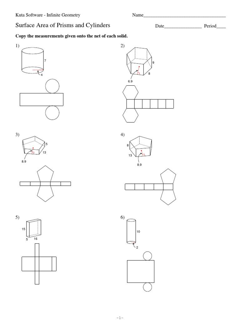 worksheet Surface Area Cylinder Worksheet surface area of prisms and cylinders worksheet coin worksheets worksheet