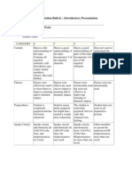 Oral Presentation Rubric. Introductory Presentation