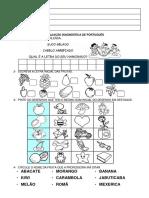 Avaliação Diagnóstica de Português Frutas