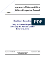 VAOIG-Delay in Cancer Diagnosis Iowa City VA Medical Center