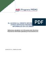 Al Acceso Al Crédito Informal y Otros Servicios Financieros Informales en Colombia
