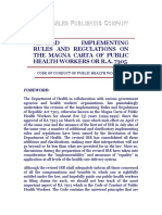 Revised Irr of the Magna Carta of Public Health Workers or r.a. 7305