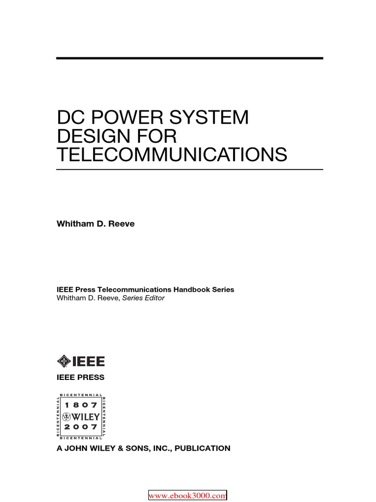 Dc Power System Design For Telecommunications Battery Electricity Induction Heating Circuit Diagram Ebook Search Direct Current
