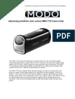Samsung presents new comer,HMX-T10 Camcorder