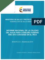 Informe Nacional de La Calidad Del Agua Para Consumo Humano Ano 2013 Con Base en El Irca