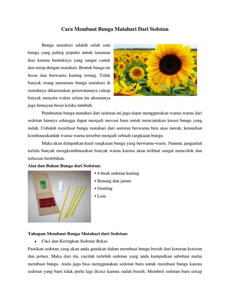 Cara Membuat Bunga Matahari Dari Sedotan