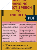 Rules in Changing Direct Speech to Indirect Speech