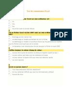 Test de Connaissance Excel
