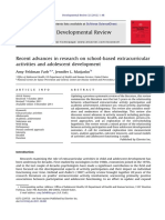 2012 - Recent Advances Research on SBE and Adolescent Development