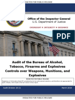 DOJ OIG Audit of the Bureau of Alcohol, Tobacco, Firearms and Explosives Controls over Weapons, Munitions, and Explosives