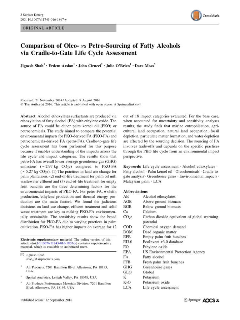 Comparison of Oleo- Vs Petro-Sourcing of Fatty Alcohols | Life Cycle