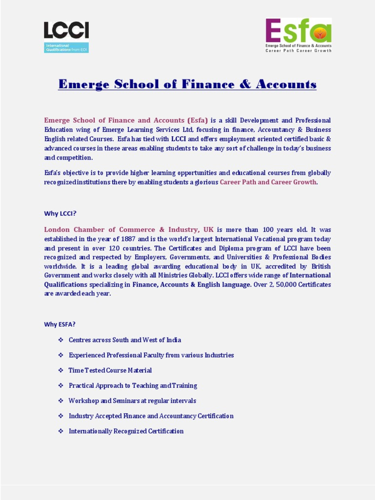 Esfa Emerge School Of Finance Accounts Professional