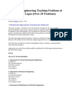 Faculty of Engineering Teaching Positions at University of Lagos