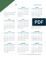 Calendario 2018 Una Pagina Chl