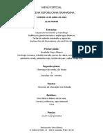 Menú Sierra Blanca - XIV Cena Republicana Granadina - 13 Abril 2018 - Antiguo Restaurante Manjoniana