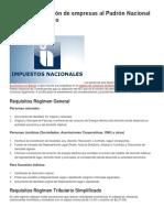 Guía de Inscripción de Empresas Al Padrón Nacional de Contribuyentes