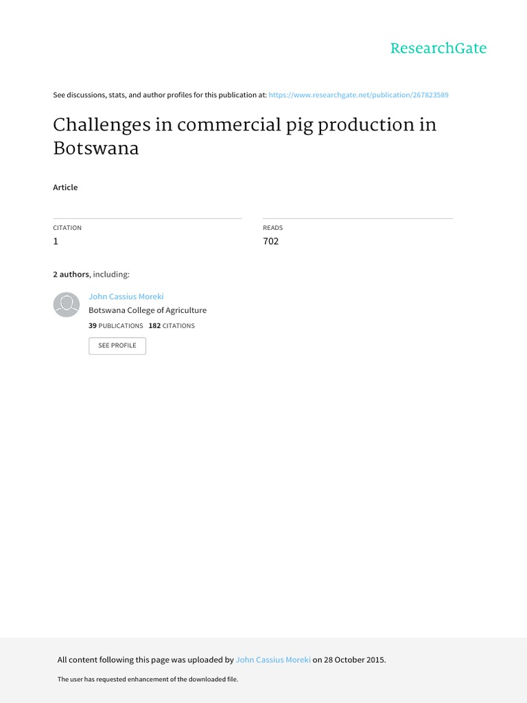 Challenges In Mercial Pig Production In Botswan Pdf