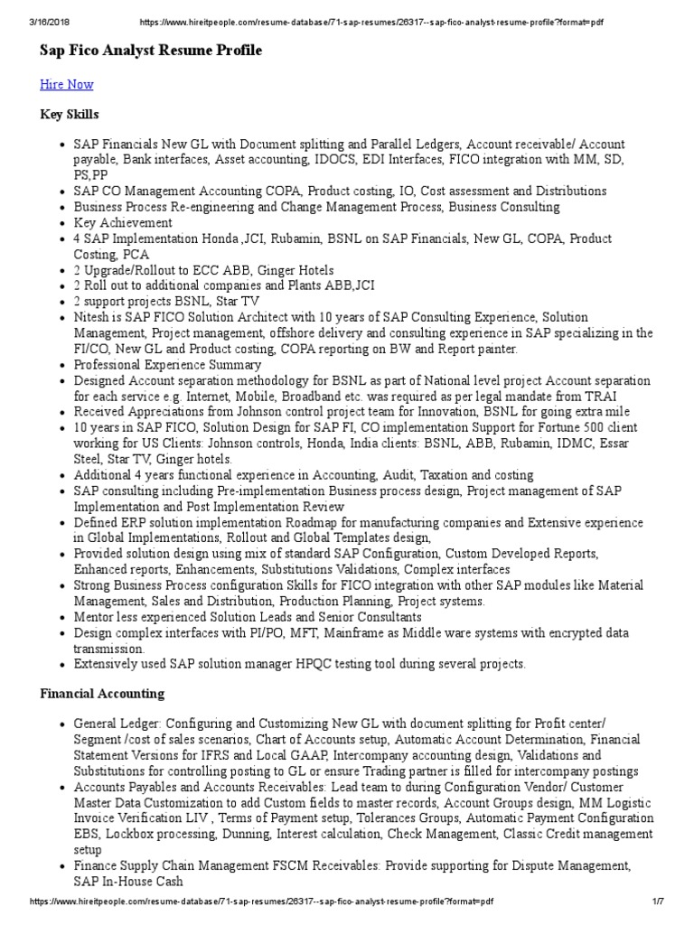 26317 Sap Fico Analyst Resume Profile | Enterprise Resource Planning ...
