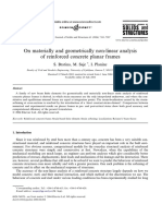 On materially and geometrically non-linear analysis of reinforced concrete planar frames