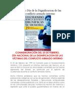 25 de Febrero Día de La Dignificacion de Las Víctimas Del Conflicto Armado Interno