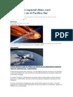 Laboratorio Espacial Chino Cayó Pulverizado en El Pacífico Sur