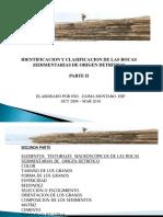 IDENTIFICACIÓN Y CLASIFICACIÓN DE ROCAS SEDIMENTARIAS DE ORIGEN DETRÍTICO. PARTE II