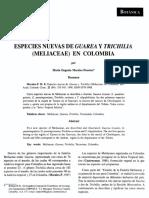 Nuevas Especies de Trichillia y Guarea en Colombia