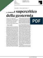 Stato supercritico della geotermia - Il Sole24ore del 1 aprile 2018