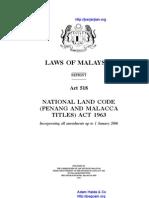 Act 518 National Land Code Penang and Malacca Titles Act 1963