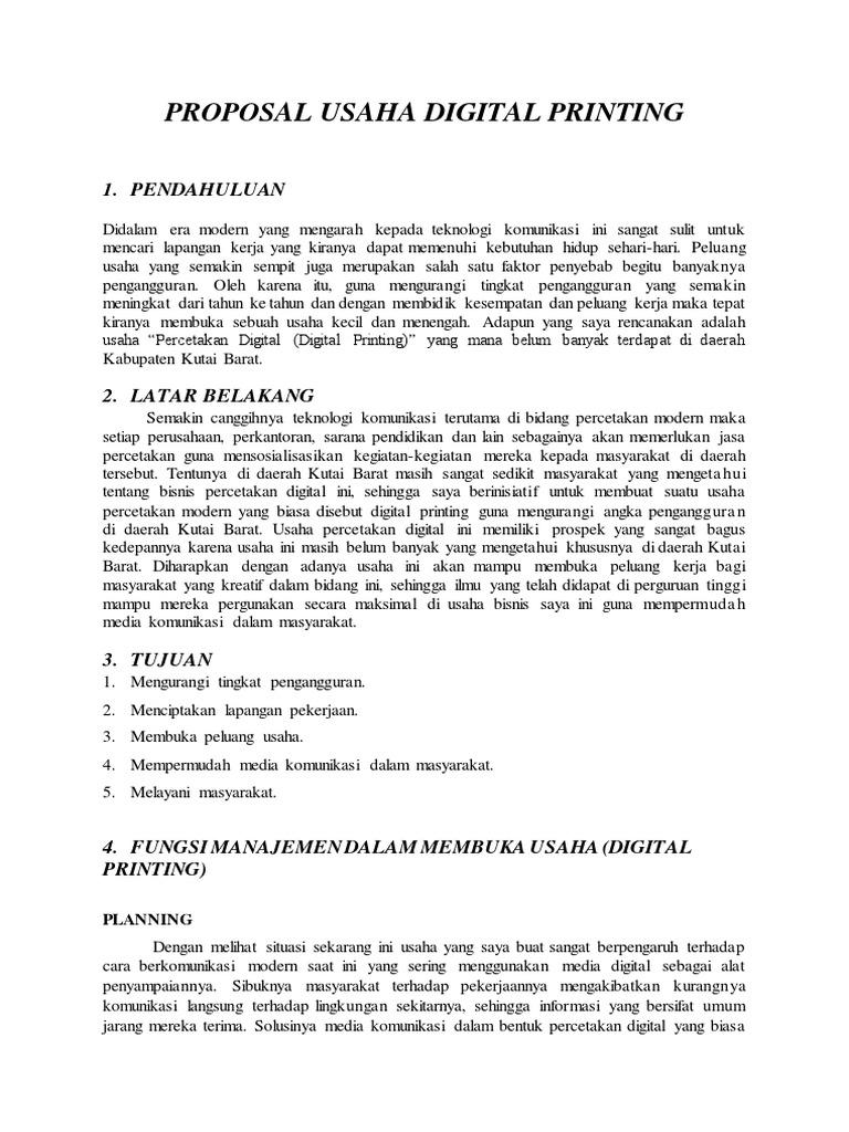 Proposal Usaha Digital Printing 1 Pendahuluan
