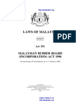 Act 551 Malaysian Rubber Board Incorporation Act 1996