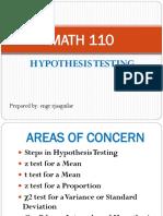 Math 110 2 Hypothesis Testing
