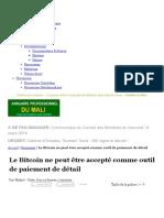 Malijet Le Bitcoin Ne Peut Être Accepté Comme Outil de Paiement de Détail Bamako Mali