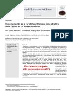 Implementacion de La Variabilidad Biologica Como Objetivo de La Calidad en Un Laboratorio Clinico